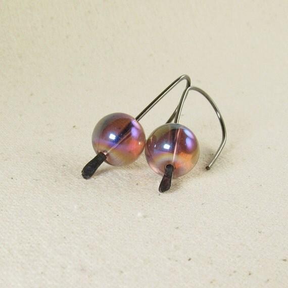 Purple Modern Earrings, Purple Earrings, Amethyst Bubble Earrings, Wire Earrings, Oxidized Sterling Silver Earrings