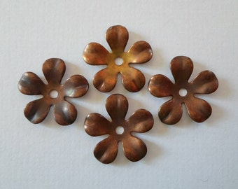 Vintage Oxidized Brass Flower Findings 13mm
