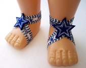 Dallas Cowboys Star NFL Football Sports baby barefoot sandals - Girls
