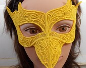 Canary Bright Yellow Embroidered Lace Mask