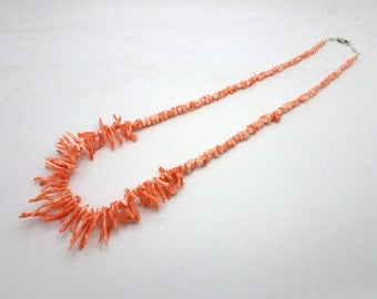 Vintage Salmon Colored Coral Branch Necklace