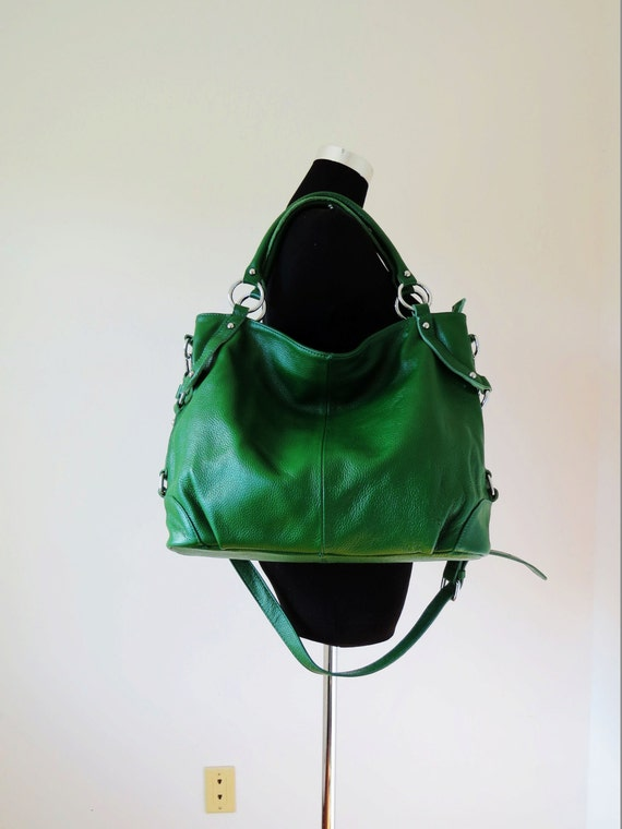 Leather hobo bag / leather tote bag-- Flamingo in green LAST ONE