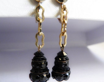 Tiered Black Rhinestone Dangle Earrings Peanut Chain
