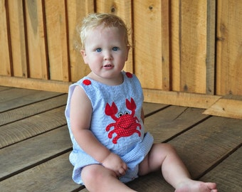 Blue Gingham Boys Romper with Crab Applique sizes 3mos, 6mos and 9mos