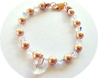 Rose Gold, Jewelry, Bracelet, Pearl Bracelet, Flower Girl, Rose Gold Pearls, Flower Girl Jewelry, Pageant, Little Girl, Competition Jewelry
