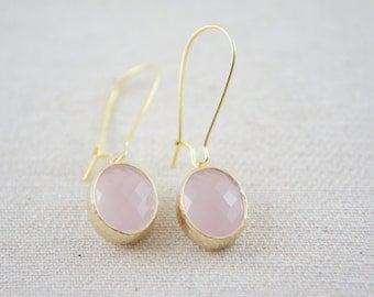 Ice pink faceted oval gold earrings - kidney ear wire, bridal gift, everyday