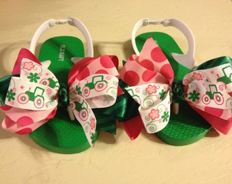 Little Girl's Size 9 Flip Flops with Green Tractor Bows