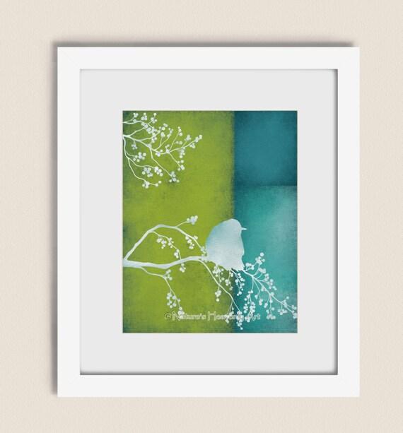 Bird on branch lime green wall art print by naturesheavenlyart for Lime green wall art