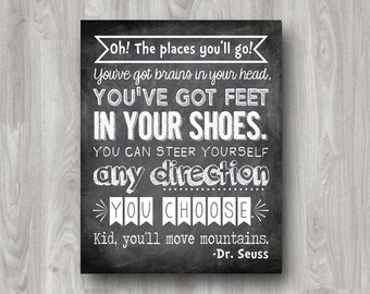 Oh The Places You'll Go Printable Subway Art - Custom Colors Available