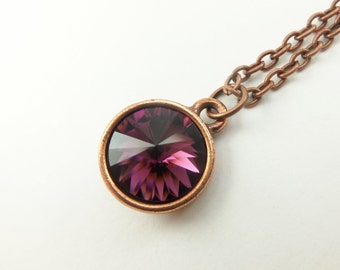 Amethyst Necklace Copper Necklace Amethyst Crystal Copper Necklace