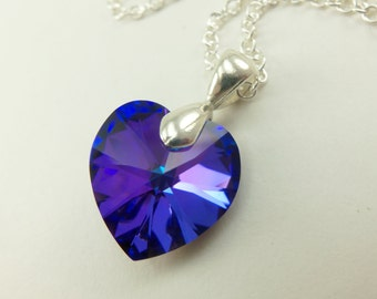 Purple Heart Necklace Crystal Sterling Silver Blue Purple Heart Necklace Swarovski Crystal Multi Color