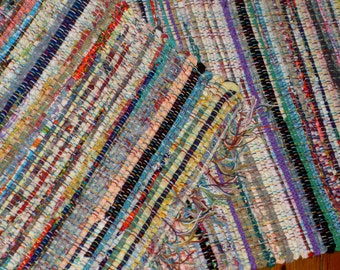 Old Fashioned Multi Color Hit and Miss Rag Rug