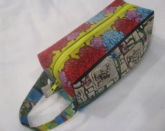 Mayan Inspired Bag with surprise embroidery inside - Cosmetic Bag Makeup Bag LARGE