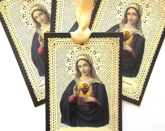French Holy Card Religious Gift Tags Christmas Gift Tags Sacred Heart Prayer Card