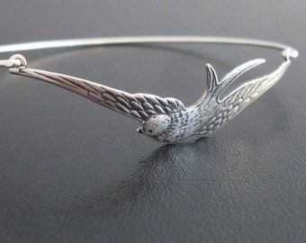 Silver Sparrow Bracelet, Sparrow Bangle, Bird Charm Bracelet, Sterling Silver Band, Freebird, Silver Sparrow Jewelry