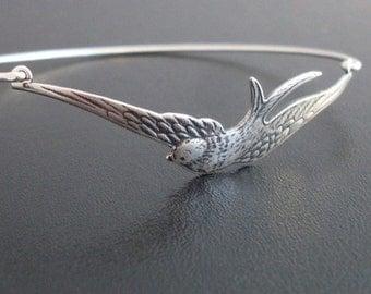 Silver Sparrow Bracelet, Sparrow Bangle, Bird Charm Bracelet, Sterling Silver Band, Freebird, Silver Sparrow Jewelry