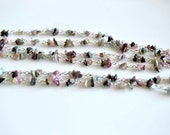 Watermelon tourmaline long necklace, tourmaline jewelry
