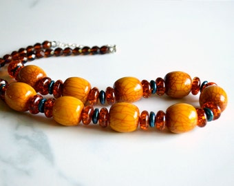 Amber, crystal  and pearl chunky necklace, statement necklace