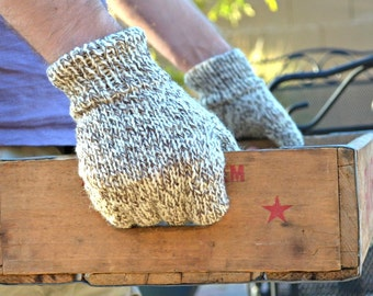 Mens fingerless gloves 100% wool knit gloves gift for him Birthday Fathers Day Christmas boyfriend gift husband gift under 40 knitted mitts