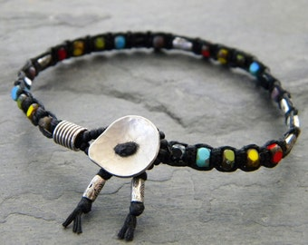 Rainbow Black Macrame Knotted Bracelet Silver Beads Nickel Button Gay Pride Artisan Bohemian Jewelry
