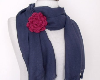 Dark Blue Cotton Scarf Shawl Neckwarmer With Flower Brooch-Ready For Shipping