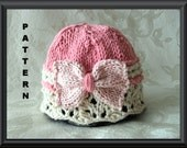Knitted Hat Pattern Baby Hat Pattern Knitting Pattern for Baby Hat Baby Hats Newborn Hat Pattern  Lace Cloche with Bow Pattern: GIFT WRAPPED