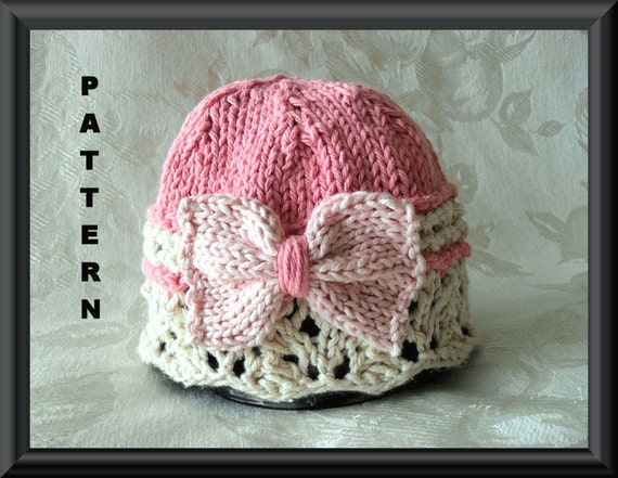 Knitting Pattern For Lace Baby Hat : Knitted Hat Pattern Baby Hat Pattern Knitting Pattern for Hat