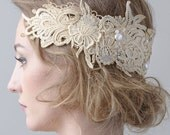Romantic lace head band with fresh water pearls and swarovsky crystlas. Designed for a wedding dress as bridal jewelry