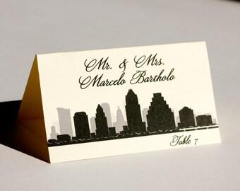 Austin Place Card City Skyline Wedding Handmade Custom Place Card Escort Bridal Other Cities Available