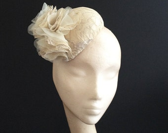 Vintage Lace Bridal Percher (hat) - Stylish Vintage lace bridal piece, can be made in the lace of your dress to match perfectly