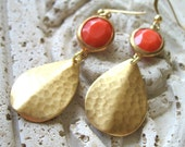 Coral Earrings, Gold and Coral Earrings, Gold Hammered Drops, Dangle Earrings, Coral Jewels - Coral Reef
