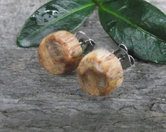 Wood Stud/Post Earrings - Mulberry Wood Wooden Post Earrings Handmade from Wood Tree Branch - Natural Wood Jewelry gift idea
