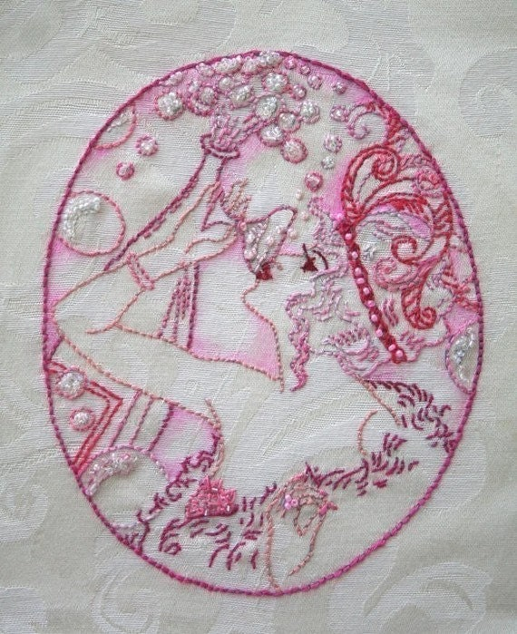 Flappers iron on hand embroidery pattern original design