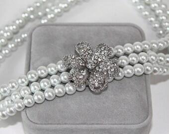 Bridal Necklace, Rhinestone and Pearl, Wedding Jewelry  NW103