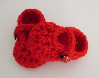 Ladybug Shoes, Red Maryjanes, Baby Girl Shoes, Baby Booties Newborn to 12 months