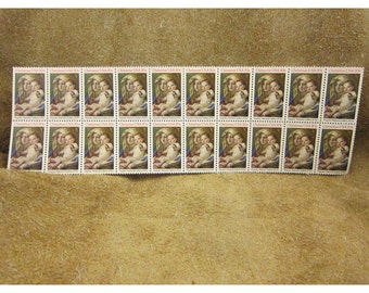 1982 Madonna & Child Tiepolo 20 Cent Vintage US Christmas Postage Stamps - sheet of 20
