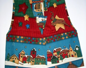 Christmas Vest, Ladies Reversible Vest, Size Ladies Large, Last One