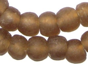 50 Recycled Glass Beads - Mocha African Beads - 14mm Round Beads - Fair Trade Necklace - Wholesale - Made in Africa (RCY-RND-BRN-614)