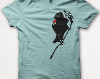 Womens Tshirt Redwing Blackbird Screenprinted Bird Shirt Graphic Tee - Aqua