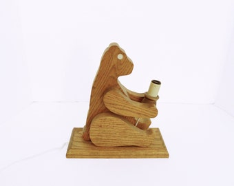 Vintage Wooden Bear Nursery Night Light Lamp