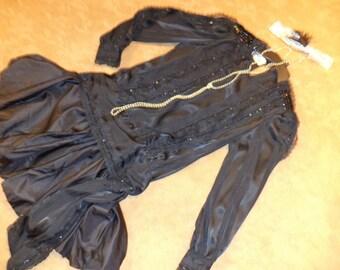 20's  flapper black beaded dress Halloween GATSBY COSTUME womens 10