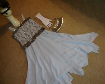 GATSBY 20's 30's evening gown gray silver sequin bias dress bag Halloween costume womens 8