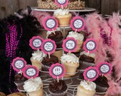 Lingerie Theme Bachelorette Party Cupcake Toppers - Bridal Shower Cupcake Toppers - Final Fling Party - Hot Pink and Black Polka Dots