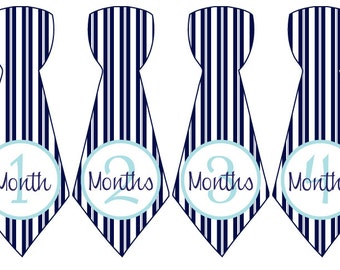 Baby Month Stickers Baby Boy Monthly Milestone Stickers Blue Stripes Tie First Year Month Stickers Baby Shower Gift Photo Prop Paul-T