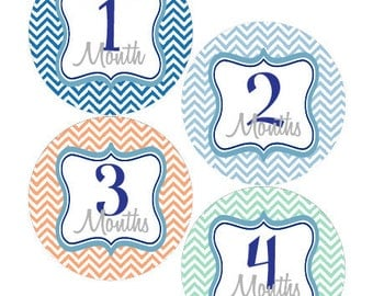Monthly Stickers Baby Month Stickers Baby Boy Blue Green Chevron First Year Month Stickers Baby Shower Gift and Photo Prop -Anthony