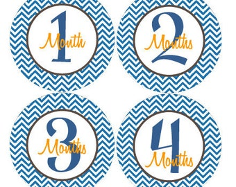 Baby Month Stickers Baby Boy Monthly Stickers Navy Blue Orange Chevron First Year Month Stickers Baby Shower Gift and Photo Prop Dylan
