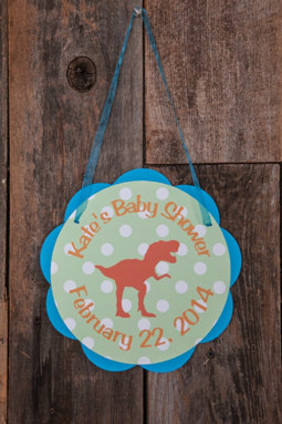 Items similar to dinosaur baby shower door sign baby for Baby shower door decoration