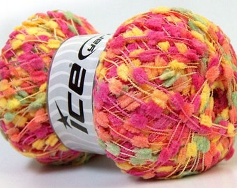 KNOTS yellow pink orange  ice yarns 100gr micro fiber 3 light DK worsted pompom type 273 yrds  ships from usa 27608