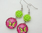 SALE- Hot Pink and Lime Green Butterfly Dangle Earrings. Bright Colors. Flowers. Gift for her under 25 usd