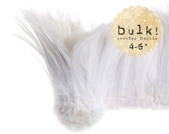WHITE - BULK - 4-6 inches - Rooster neck Hackle - strung feathers - Wholesale Feathers